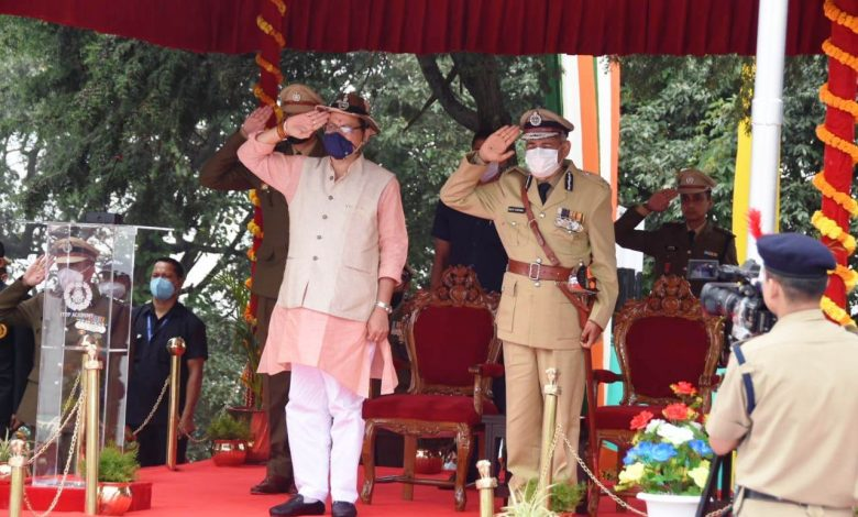 Uttarakhand CM Pushkar Singh Dhami at the Passing Out Parade of ITBP in Mussoorie today